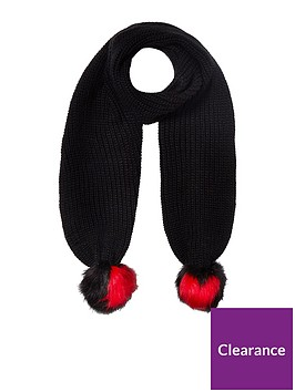river-island-black-heart-pom-scarf