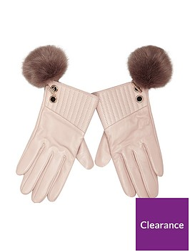 river-island-pink-light-pom-glove
