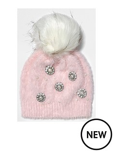 river-island-river-island-pink-embellished-pearl-studded-beanie