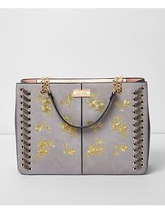 river-island-river-island-grey-embroidered-winged-tote-bag
