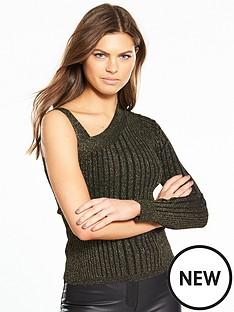 karen-millen-metallic-ribbed-knitted-top
