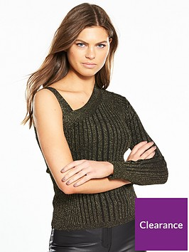 karen-millen-metallic-ribbed-knitted-top