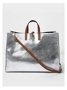 river-island-silver-beach-bag