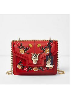 river-island-river-island-embroidered-jaguar-lock-chain-satchel-bag--red