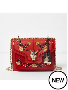 river-island-river-island-embroidered-jaguar-lock-chain-satchel-bag--red