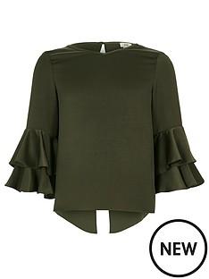 river-island-girls-khaki-ruffle-blouse