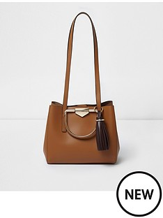 river-island-river-island-sienna-metal-handle-mini-pink-leather-tote