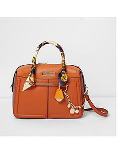 river-island-river-island-scarf-handle-orange-bowler-bag
