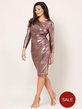 jessica-wright-paulie-long-sleeve-rose-gold-gather-dress-rose