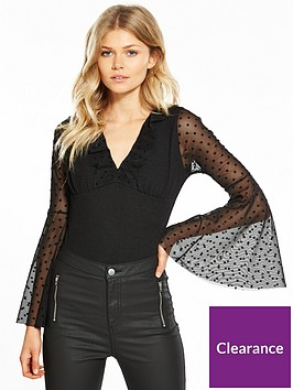 v-by-very-petite-spot-mesh-bodysuit