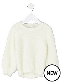 river-island-mini-girls-cream-fluffy-jumper