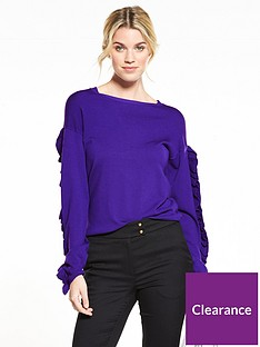 v-by-very-double-frill-sleeve-detail-jumper-deep-purple
