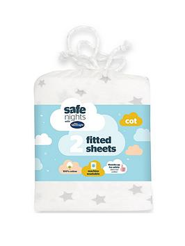 Silentnight Silentnight Jersey Printed Stars Fitted Cot Sheets - 2 Pack Picture