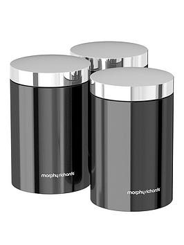 Morphy Richards  Accents Set Of 3 Storage Canisters &Ndash; Black