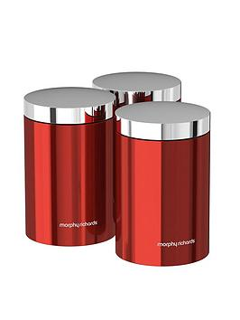 Morphy Richards Accents Set Of 3 Storage Canisters &Ndash; Red