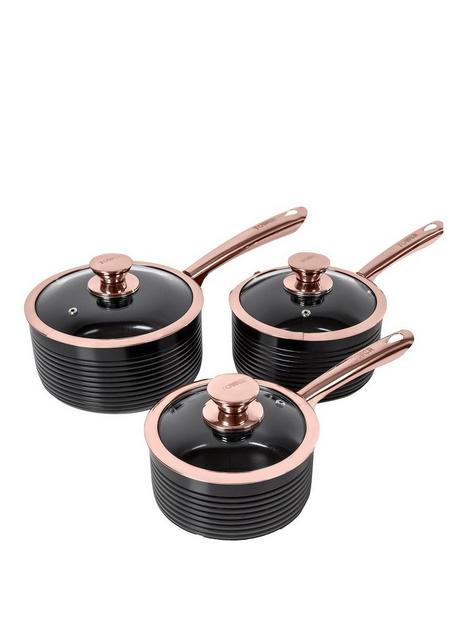 tower-linear-rose-gold-3-piece-saucepan-set-in-black