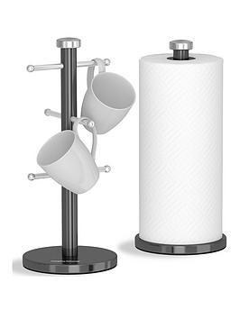 morphy-richards-accents-mug-tree-and-towel-pole-set-ndash-black