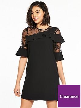 river-island-frill-swing-dress--black