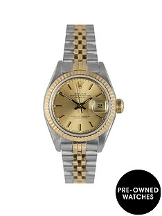 rolex-rolex-pre-owned-datejust-original-champagne-baton-dial-bimetal-ladies-watch-with-paperwork-ref-69173
