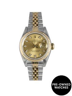 rolex-rolex-pre-owned-datejust-original-champagne-baton-dial-bimetal-ladies-watch-ref-69173