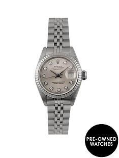 rolex-rolex-pre-owned-datejust-originbal-silver-diamond-dial-stainless-steel-ladies-watch-ref-69174