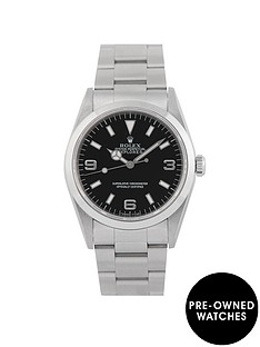 rolex-rolex-pre-owned-explorer-black-dial-stainless-steel-mens-watch-ref-14270