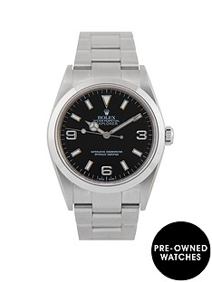 rolex-rolex-pre-owned-explorer-black-dial-stainless-steel-mens-watch-ref-114270