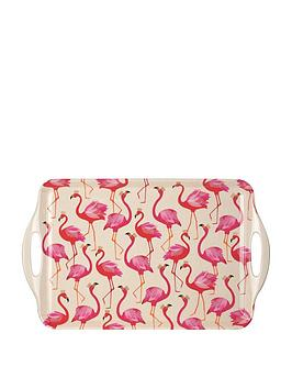 Sara Miller Sara Miller Sara Miller Flamingo Large Handledtray Picture