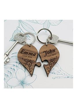 Very Personalised Couples Romantic Joining Heart Keyring Picture