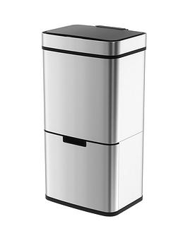 morphy-richards-pro-75-litre-sensor-bin-with-2-recycle-bins-ndash-stainless-steel