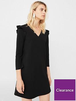 mango-v-neck-dress-black