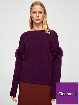 mango-faux-fur-sleeve-knit-purple