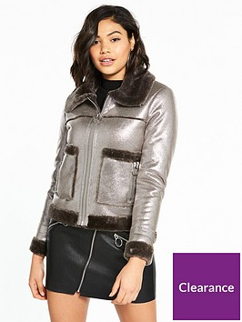 river-island-river-island-faux-shearling-trucker-jacket--silver