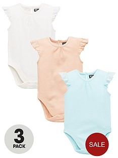 87d2a479c Mini V by Very Baby Girls 3 Pack Rib & Lace Trim Bodysuits