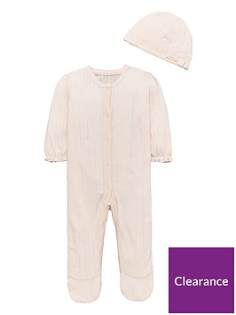 mini-v-by-very-pretty-pointelle-sleepsuit-amp-hat-set-pink