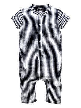 9f0de96ec595 Mini V by Very Baby Boy Crinkle Woven Check Grandad Romper ...