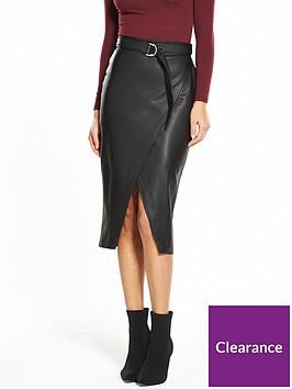 miss-selfridge-pu-buckle-wrap-skirt-black