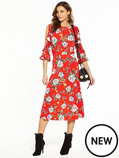 v-by-very-cold-shoulder-printed-midi-dress