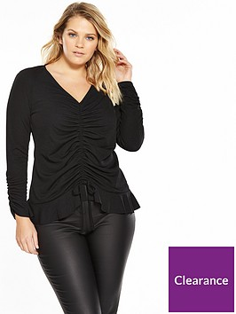 v-by-very-curve-ruched-front-and-sleeve-jersey-top