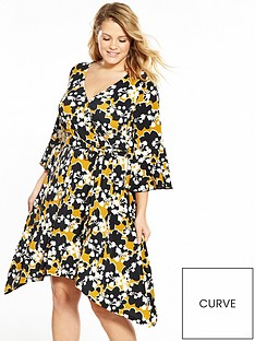 v-by-very-curve-printed-wrap-jersey-dress-mustard