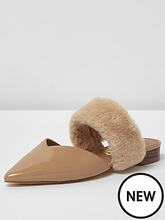 river-island-river-island-pointed-toe-fur-band-slip-on-shoes--nude