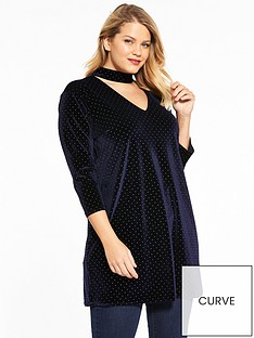 v-by-very-curve-studded-velvet-choker-tunic-midnight