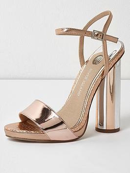 River Island River Island Metallic Round Heel Sandals- Rose Gold |  littlewoods.com