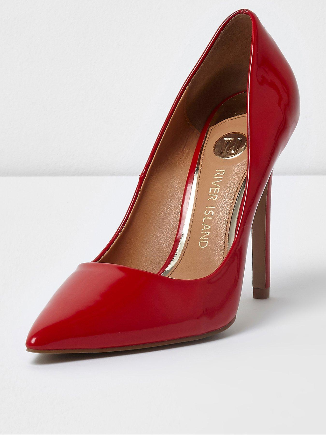 River Island River Island Patent Pointed High Heels Red 1600220673 Women's Shoes River Island Heels