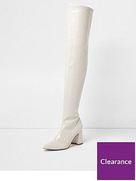 river-island-river-island-patent-over-the-knee-block-heel-boots--white