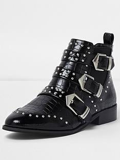 river-island-river-island-studded-multi-buckle-ankle-boots--black