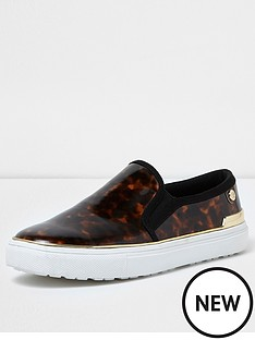 river-island-river-island-patent-tortoiseshell-pimsoll--brown