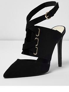 river-island-tie-up-court-shoes--black
