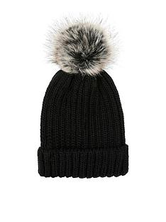 accessorize-ribbed-faux-fur-pom-beanie-hat