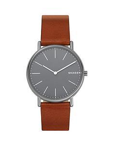 skagen-skagen-signatur-grey-ip-stainless-steel-leather-strap-gents-watch
